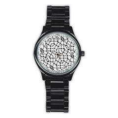 Black And White Ethnic Print Stainless Steel Round Watch by dflcprintsclothing