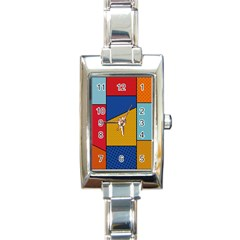 Dotted Colors Background Pop Art Style Vector Rectangle Italian Charm Watch