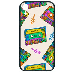 Seamless Pattern With Colorfu Cassettes Hippie Style Doodle Musical Texture Wrapping Fabric Vector Iphone Xr Soft Bumper Uv Case