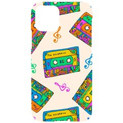 Seamless Pattern With Colorfu Cassettes Hippie Style Doodle Musical Texture Wrapping Fabric Vector Iphone 11 Pro Black Uv Print Case