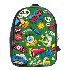 Pop Art Colorful Seamless Pattern School Bag (large)