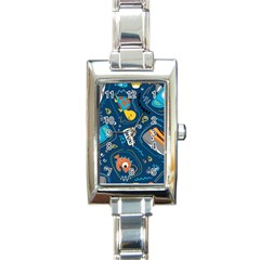 Seamless Pattern Vector Submarine With Sea Animals Cartoon Rectangle Italian Charm Watch