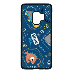 Seamless Pattern Vector Submarine With Sea Animals Cartoon Samsung Galaxy S9 Seamless Case(black)