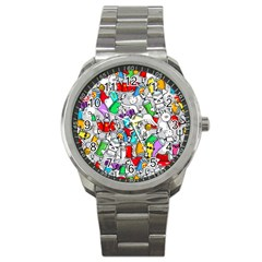 Graffit Characters Seamless Pattern Art Sport Metal Watch by Amaryn4rt