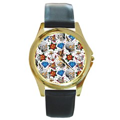 Full Color Flash Tattoo Patterns Round Gold Metal Watch by Amaryn4rt