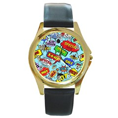 Comic Bubbles Seamless Pattern Round Gold Metal Watch