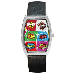 Pop Art Comic Vector Speech Cartoon Bubbles Popart Style With Humor Text Boom Bang Bubbling Expressi Barrel Style Metal Watch