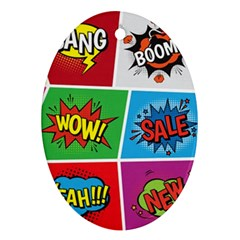 Pop Art Comic Vector Speech Cartoon Bubbles Popart Style With Humor Text Boom Bang Bubbling Expressi Oval Ornament (two Sides) by Amaryn4rt