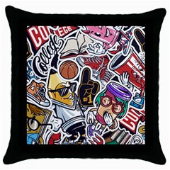 Vintage College Colorful Seamless Pattern Throw Pillow Case (black)