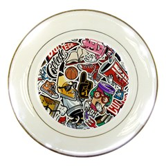 Vintage College Colorful Seamless Pattern Porcelain Plates