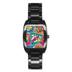 Comic Colorful Seamless Pattern Stainless Steel Barrel Watch by Amaryn4rt