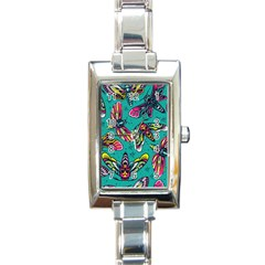 Vintage Colorful Insects Seamless Pattern Rectangle Italian Charm Watch
