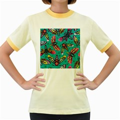 Vintage Colorful Insects Seamless Pattern Women s Fitted Ringer T-shirt
