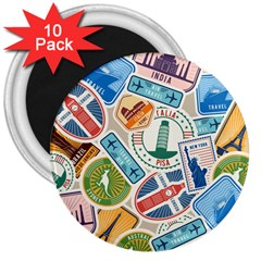 Travel Pattern Immigration Stamps Stickers With Historical Cultural Objects Travelling Visa Immigrant 3  Magnets (10 Pack)