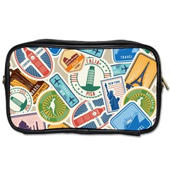 Travel Pattern Immigration Stamps Stickers With Historical Cultural Objects Travelling Visa Immigrant Toiletries Bag (one Side)