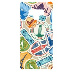 Travel Pattern Immigration Stamps Stickers With Historical Cultural Objects Travelling Visa Immigrant Samsung Note 9 Black Uv Print Case