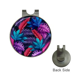 Background With Violet Blue Tropical Leaves Hat Clips With Golf Markers