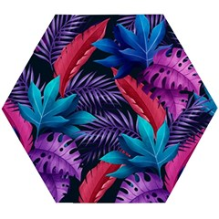 Background With Violet Blue Tropical Leaves Wooden Puzzle Hexagon