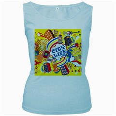 Colorful City Life Horizontal Seamless Pattern Urban City Women s Baby Blue Tank Top