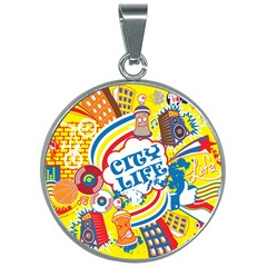 Colorful City Life Horizontal Seamless Pattern Urban City 30mm Round Necklace by Amaryn4rt