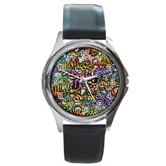 Graffiti Word Seamless Pattern Round Metal Watch by Amaryn4rt