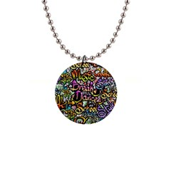 Graffiti Word Seamless Pattern 1  Button Necklace