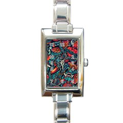 Vintage Tattoos Colorful Seamless Pattern Rectangle Italian Charm Watch by Amaryn4rt
