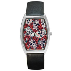 Vintage Day Dead Seamless Pattern Barrel Style Metal Watch by Amaryn4rt