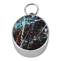 Abstract Colorful Texture Mini Silver Compasses