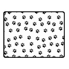 Dog Paws Pattern, Black And White Vector Illustration, Animal Love Theme Fleece Blanket (small)