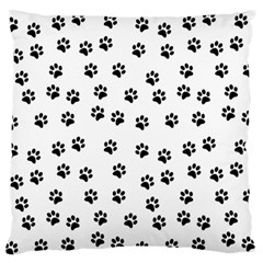 Dog Paws Pattern, Black And White Vector Illustration, Animal Love Theme Large Flano Cushion Case (two Sides)