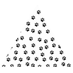 Dog Paws Pattern, Black And White Vector Illustration, Animal Love Theme Wooden Puzzle Triangle