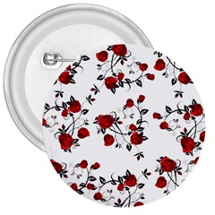 Vector Roses Pattern,red Flowers And Black Branches, Asymmetric Design 3  Buttons