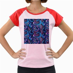Blue Swirl Pattern Women s Cap Sleeve T-shirt