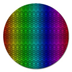 Rainbow Colored Scales Pattern, Full Color Palette, Fish Like Magnet 5  (round)