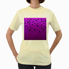 Two Tone Purple With Black Strings And Ovals, Dots  Geometric Pattern Women s Yellow T-shirt