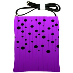 Two Tone Purple With Black Strings And Ovals, Dots  Geometric Pattern Shoulder Sling Bag by Casemiro