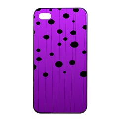 Two Tone Purple With Black Strings And Ovals, Dots  Geometric Pattern Iphone 4/4s Seamless Case (black)
