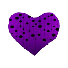 Two Tone Purple With Black Strings And Ovals, Dots  Geometric Pattern Standard 16  Premium Flano Heart Shape Cushions