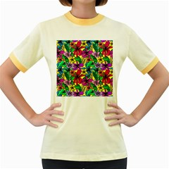 Hibiscus Flowers Pattern, Floral Theme, Rainbow Colors, Colorful Palette Women s Fitted Ringer T-shirt