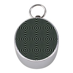 Geometric Pattern, Army Green And Black Lines, Regular Theme Mini Silver Compasses