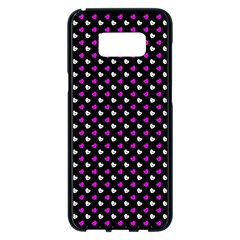 White And Pink Hearts At Black, Vector Handrawn Hearts Pattern Samsung Galaxy S8 Plus Black Seamless Case by Casemiro