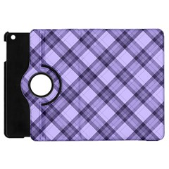 Pastel Purple And Steel Black Lines Pattern, Retro Tartan, Classic Plaid Apple Ipad Mini Flip 360 Case by Casemiro
