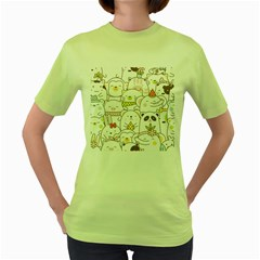 Cute-baby-animals-seamless-pattern Women s Green T-shirt by Sobalvarro