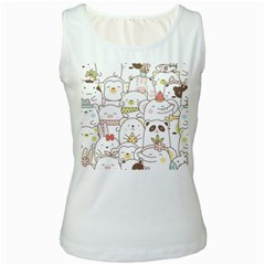 Cute-baby-animals-seamless-pattern Women s White Tank Top by Sobalvarro