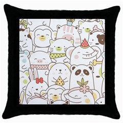 Cute-baby-animals-seamless-pattern Throw Pillow Case (black) by Sobalvarro