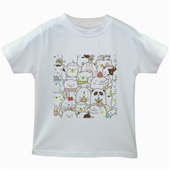 Cute-baby-animals-seamless-pattern Kids White T-shirts by Sobalvarro