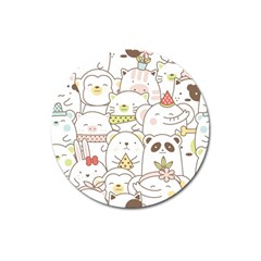 Cute-baby-animals-seamless-pattern Magnet 3  (round) by Sobalvarro