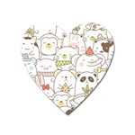 Cute-baby-animals-seamless-pattern Heart Magnet Front