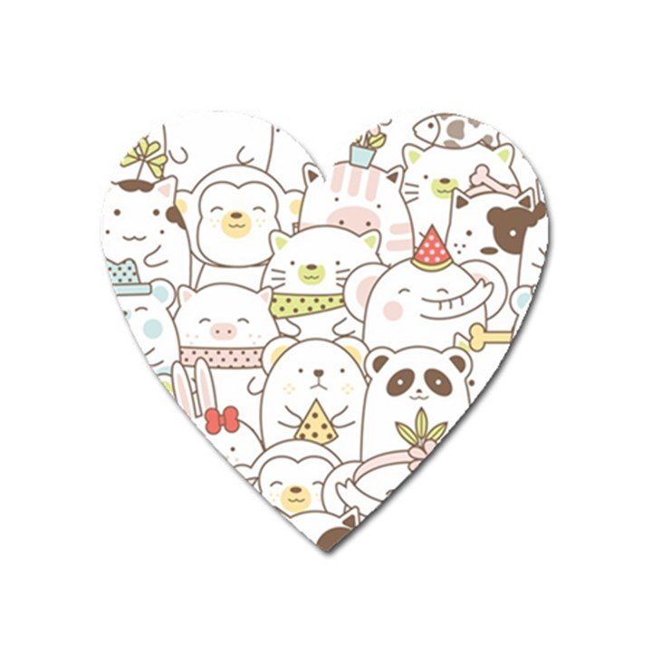 Cute-baby-animals-seamless-pattern Heart Magnet